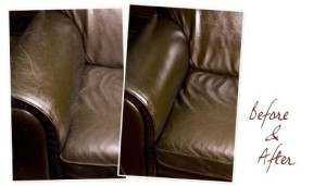Before and after photo using Leather Honey conditioner for upholstery leather